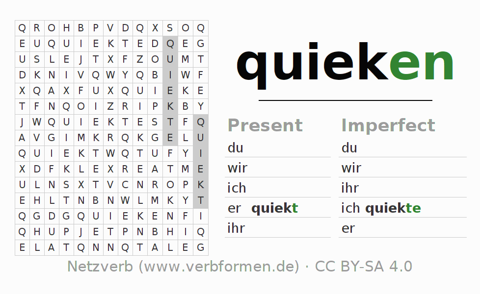 Word search puzzle for the conjugation of the verb quieken