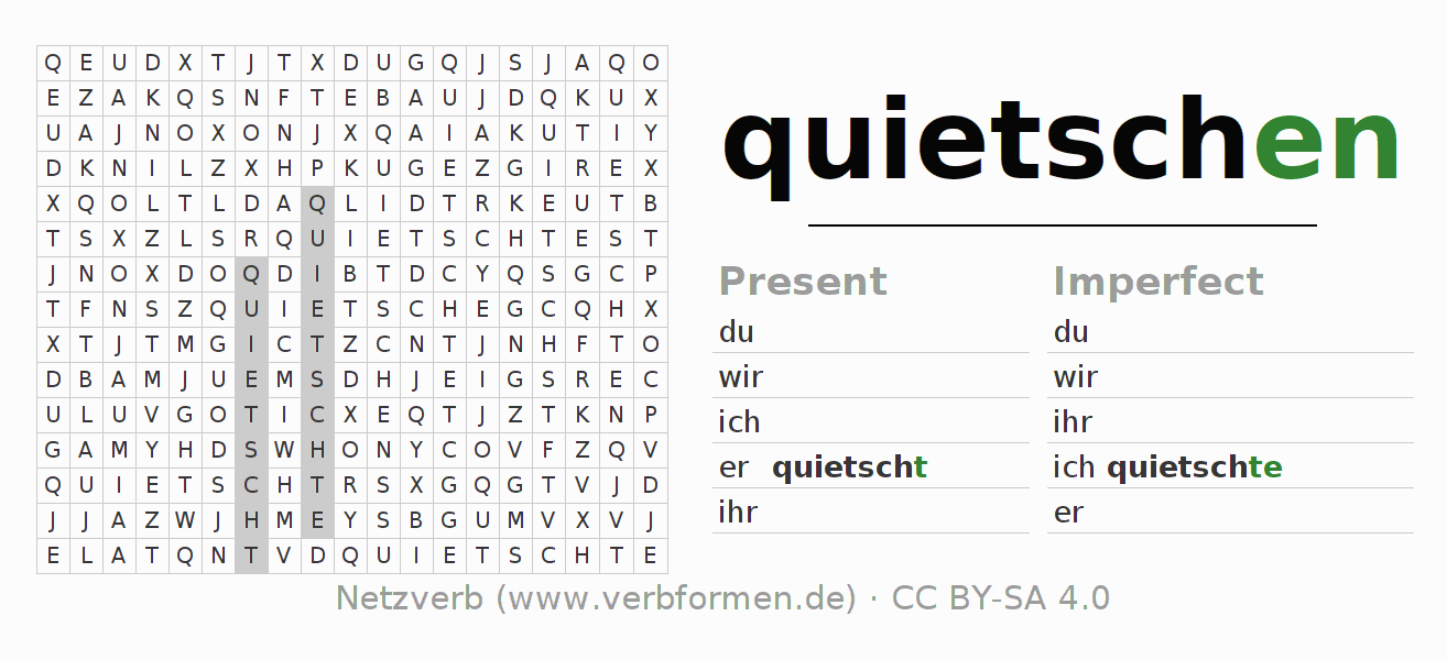 Word search puzzle for the conjugation of the verb quietschen