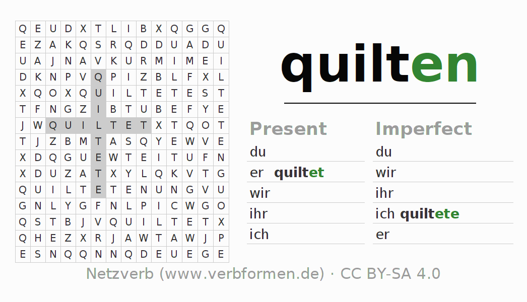 Word search puzzle for the conjugation of the verb quilten