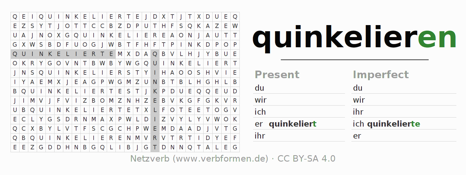Word search puzzle for the conjugation of the verb quinkelieren