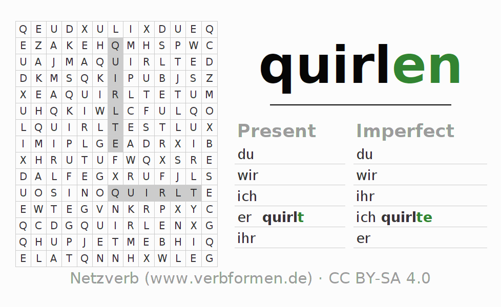 Word search puzzle for the conjugation of the verb quirlen (hat)