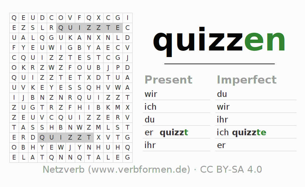 Word search puzzle for the conjugation of the verb quizzen