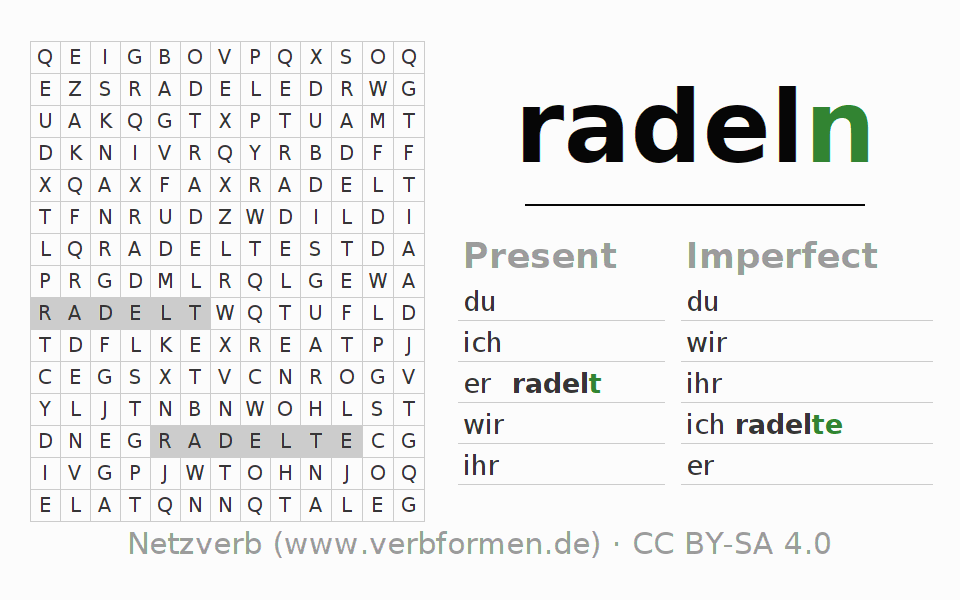Word search puzzle for the conjugation of the verb radeln