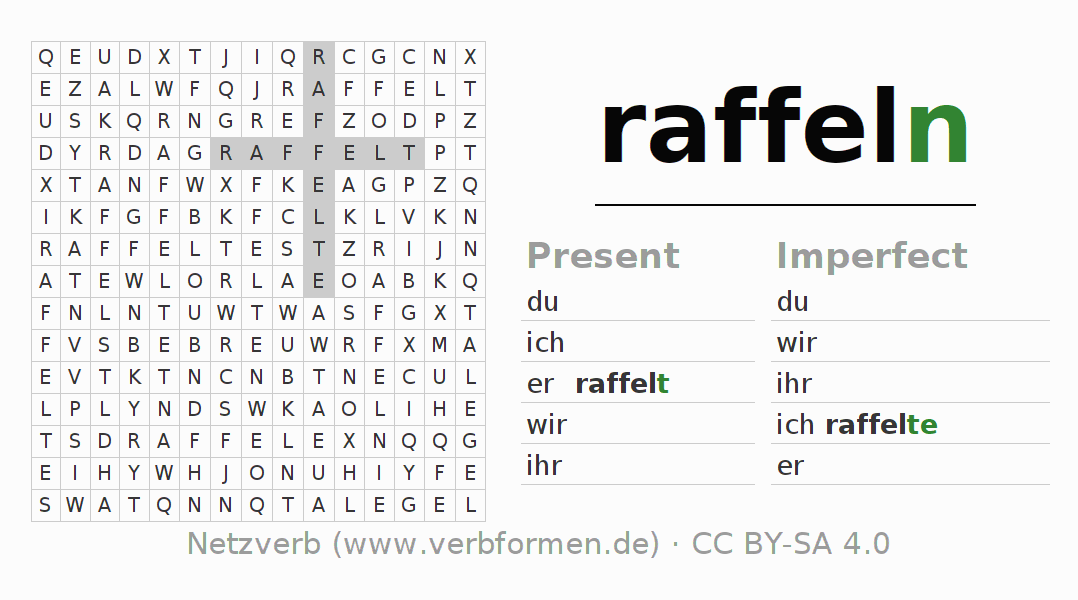 Word search puzzle for the conjugation of the verb raffeln