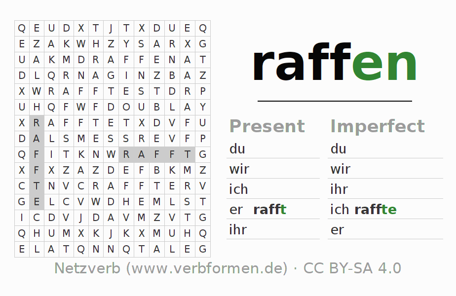 Word search puzzle for the conjugation of the verb raffen