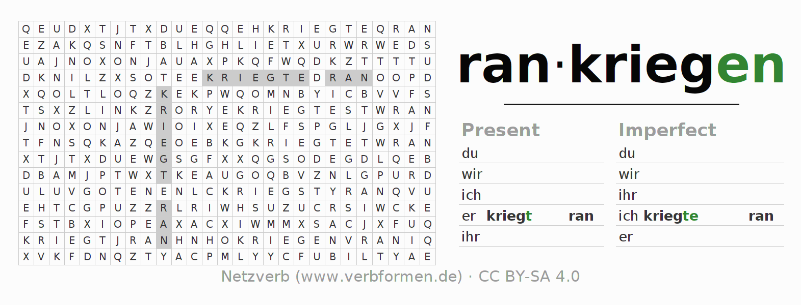 Word search puzzle for the conjugation of the verb rankriegen