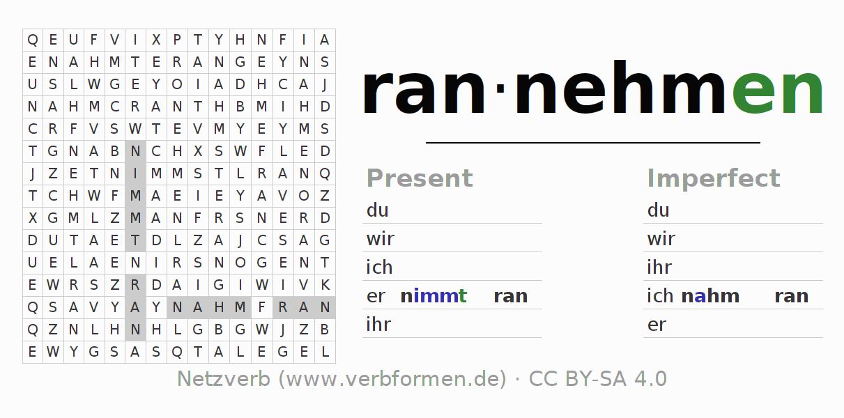 Word search puzzle for the conjugation of the verb rannehmen