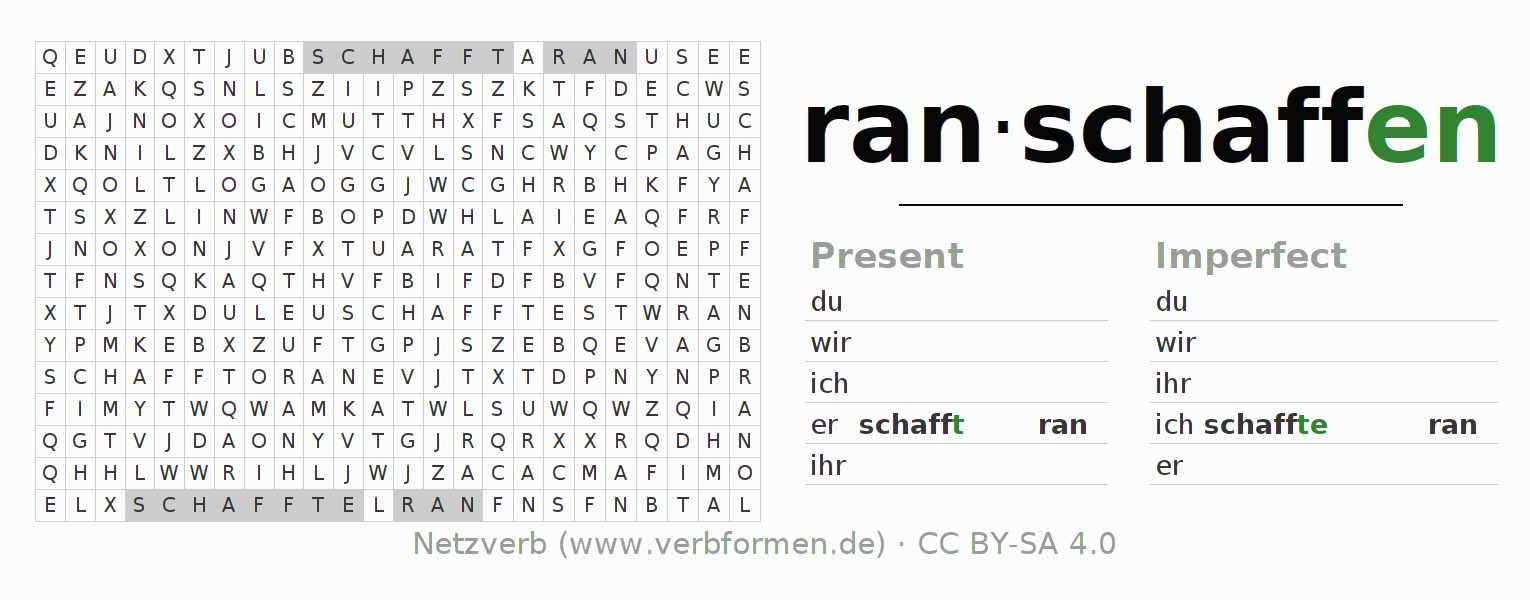 Word search puzzle for the conjugation of the verb ranschaffen