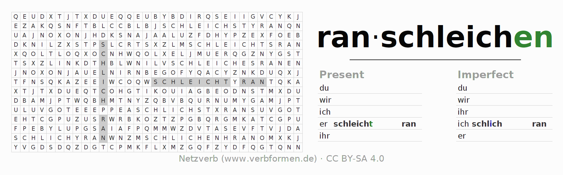 Word search puzzle for the conjugation of the verb ranschleichen (hat)