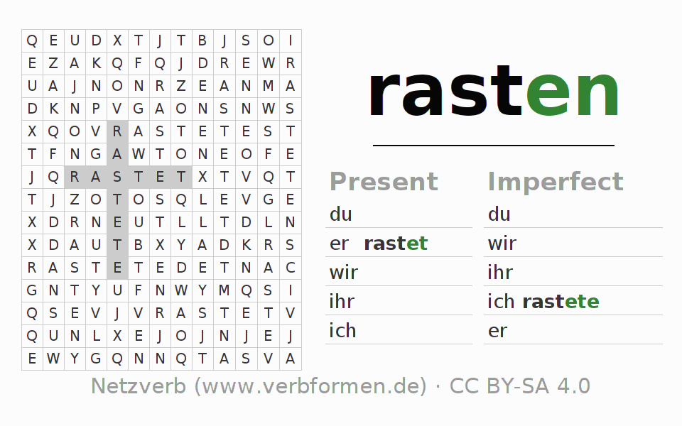 Word search puzzle for the conjugation of the verb rasten (hat)