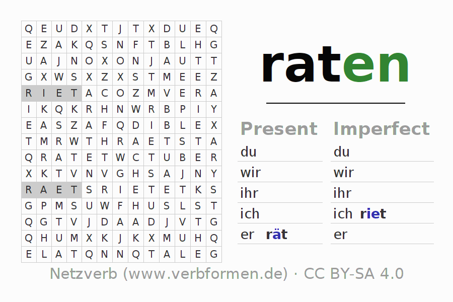 Word search puzzle for the conjugation of the verb raten