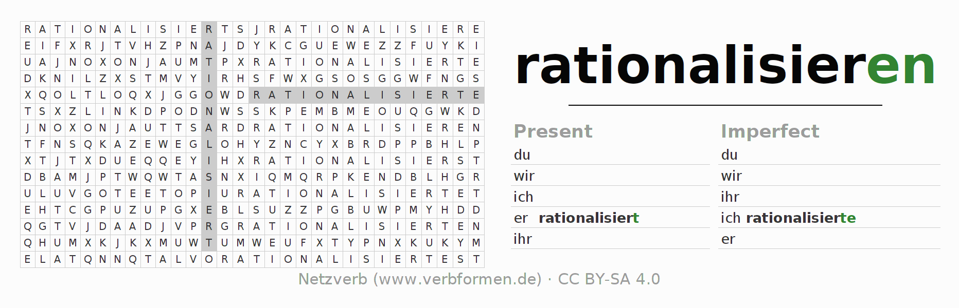 Word search puzzle for the conjugation of the verb rationalisieren