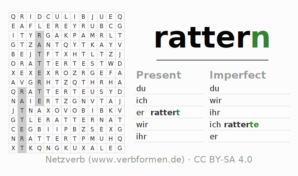 Word search puzzle for the conjugation of the verb rattern (ist)