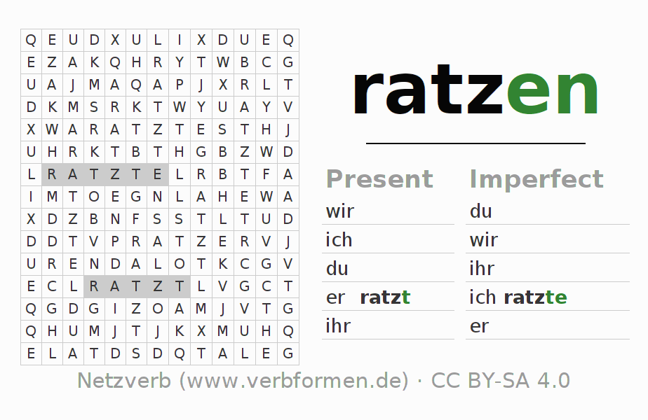 Word search puzzle for the conjugation of the verb ratzen