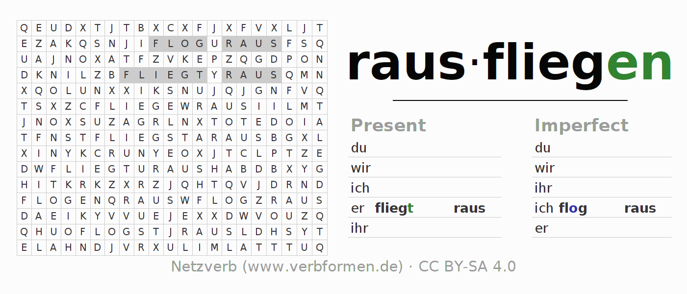 Word search puzzle for the conjugation of the verb rausfliegen