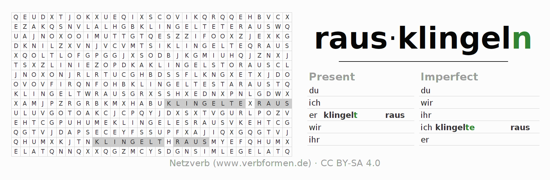 Word search puzzle for the conjugation of the verb rausklingeln