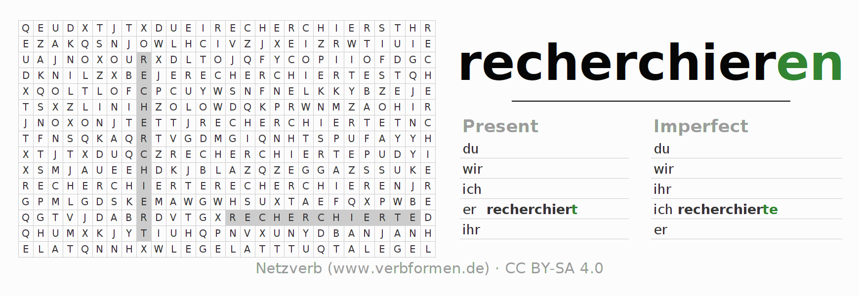 Word search puzzle for the conjugation of the verb recherchieren