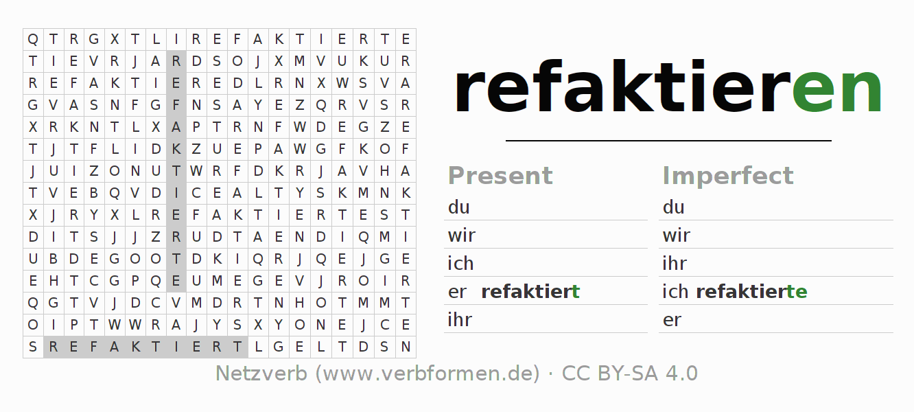 Word search puzzle for the conjugation of the verb refaktieren