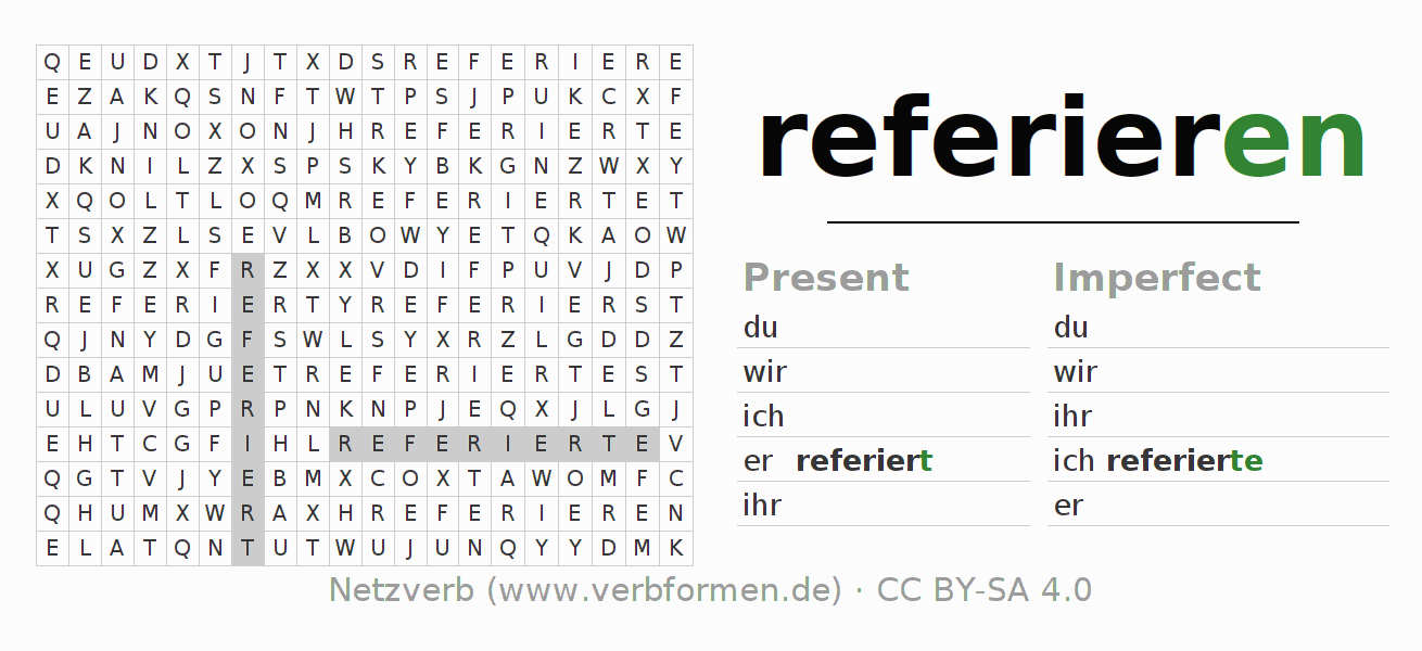 Word search puzzle for the conjugation of the verb referieren