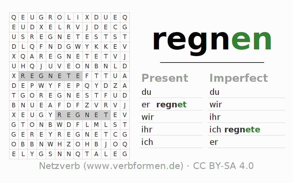 Word search puzzle for the conjugation of the verb regnen (hat)