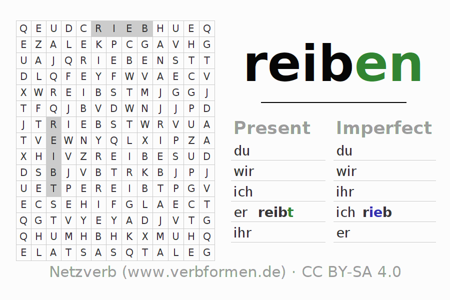 Worksheets | Verb reiben | Exercises for conjugation of German ... | {Reiben 45}