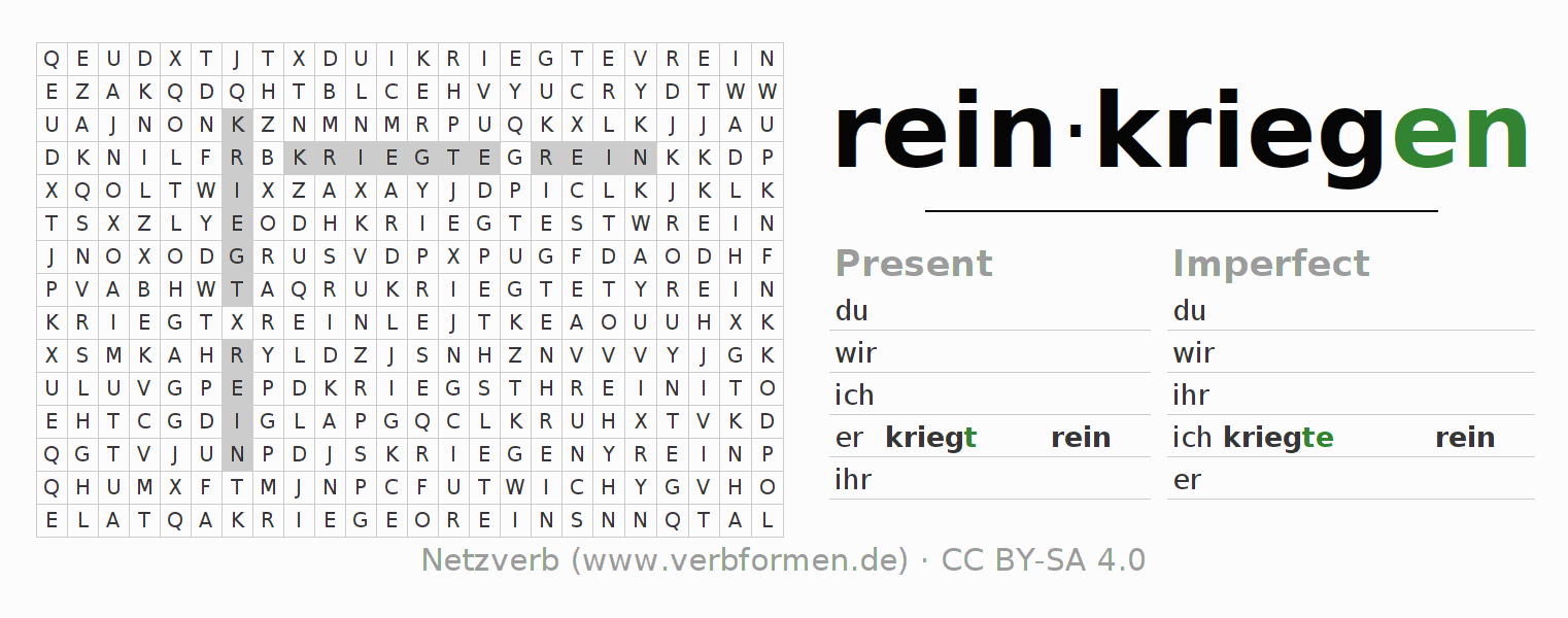 Word search puzzle for the conjugation of the verb reinkriegen