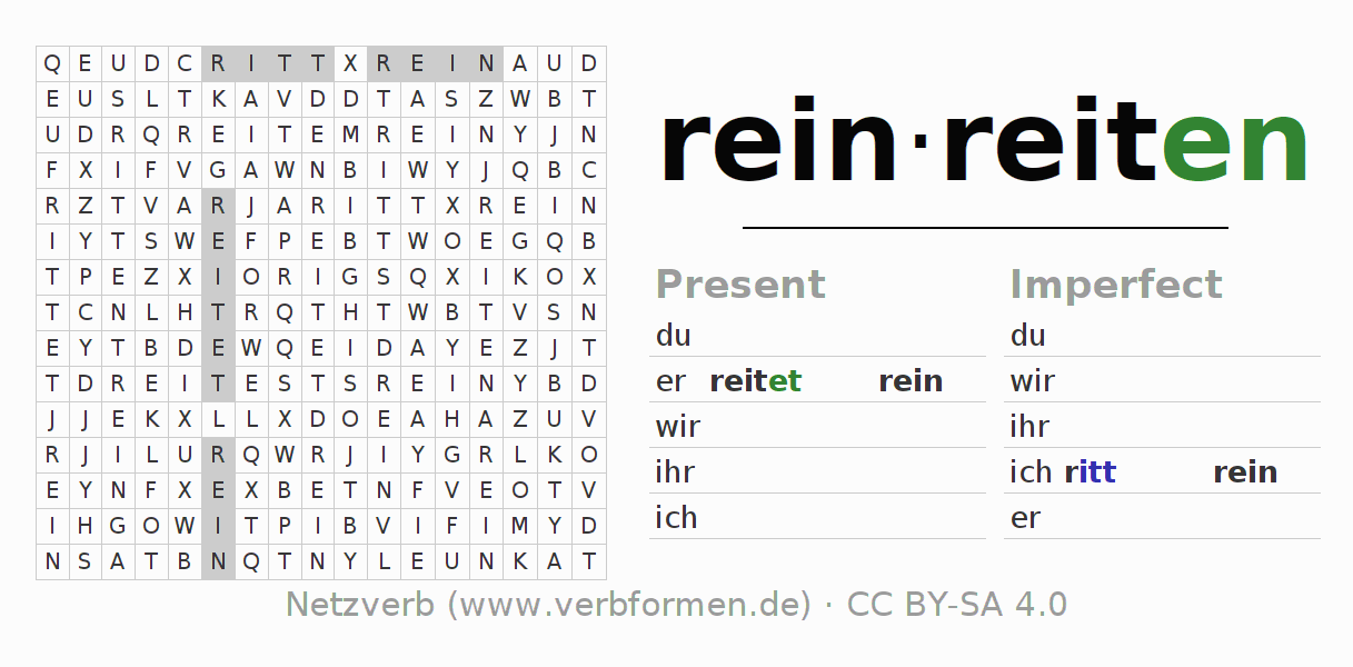 Word search puzzle for the conjugation of the verb reinreiten (hat)