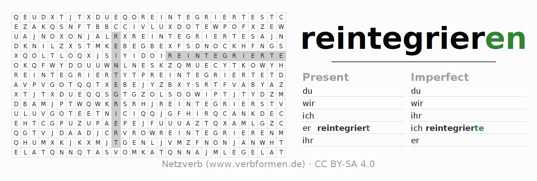 Word search puzzle for the conjugation of the verb reintegrieren