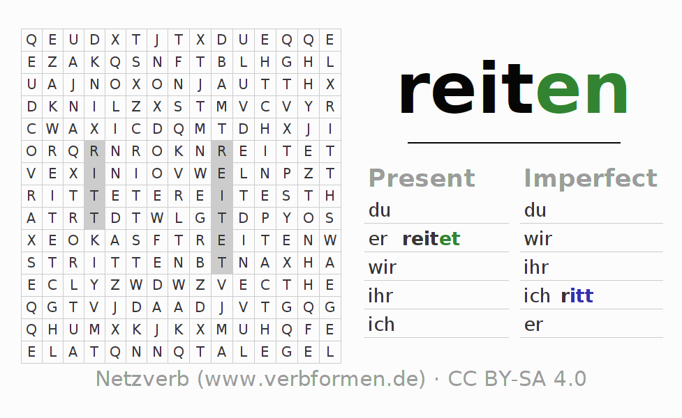 Word search puzzle for the conjugation of the verb reiten (ist)