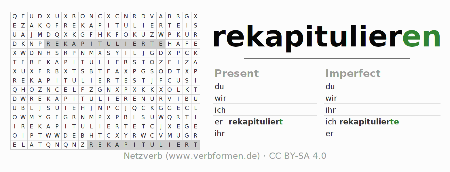 Word search puzzle for the conjugation of the verb rekapitulieren