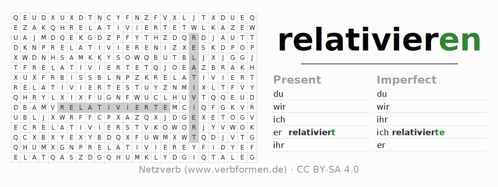 Word search puzzle for the conjugation of the verb relativieren