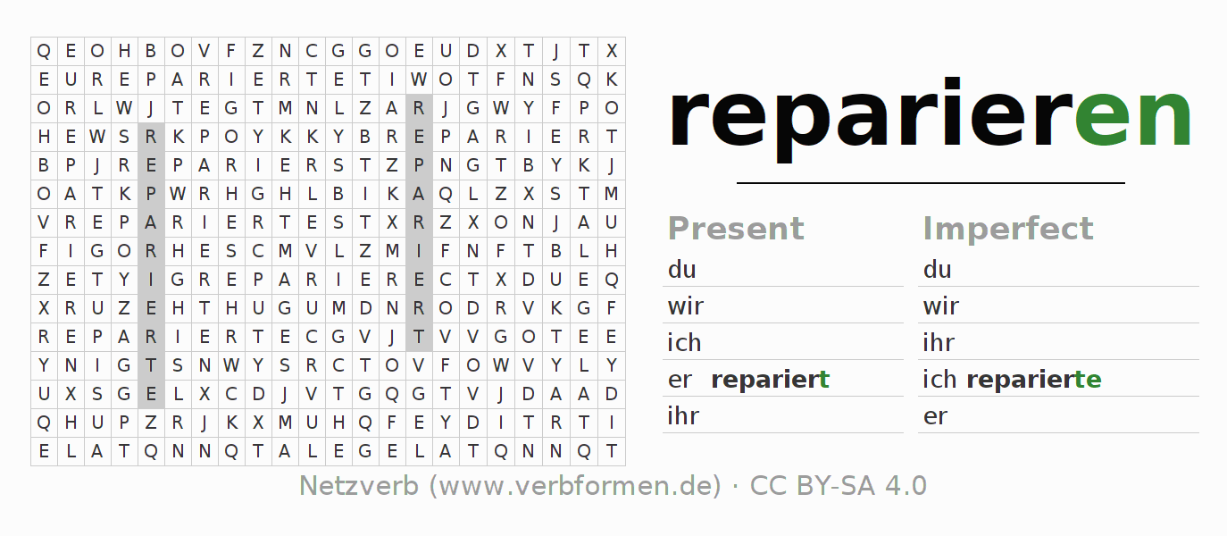 Word search puzzle for the conjugation of the verb reparieren