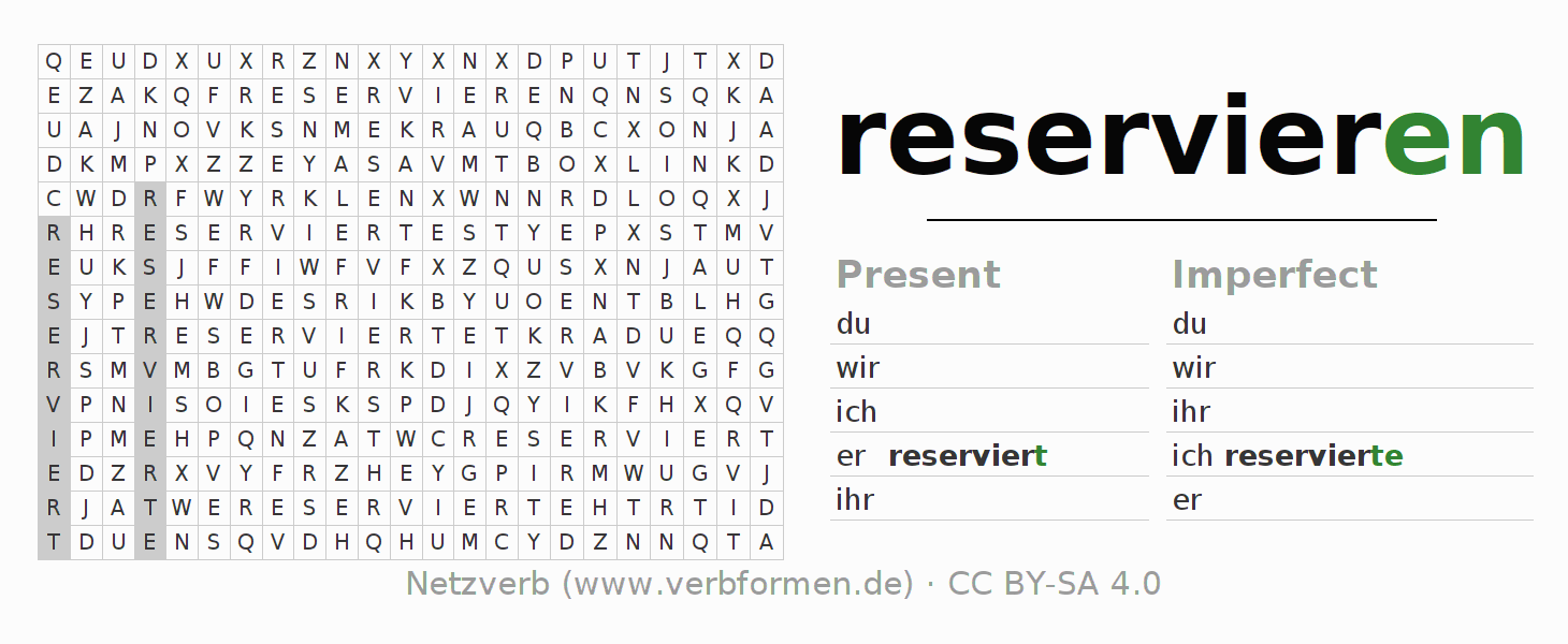 Word search puzzle for the conjugation of the verb reservieren