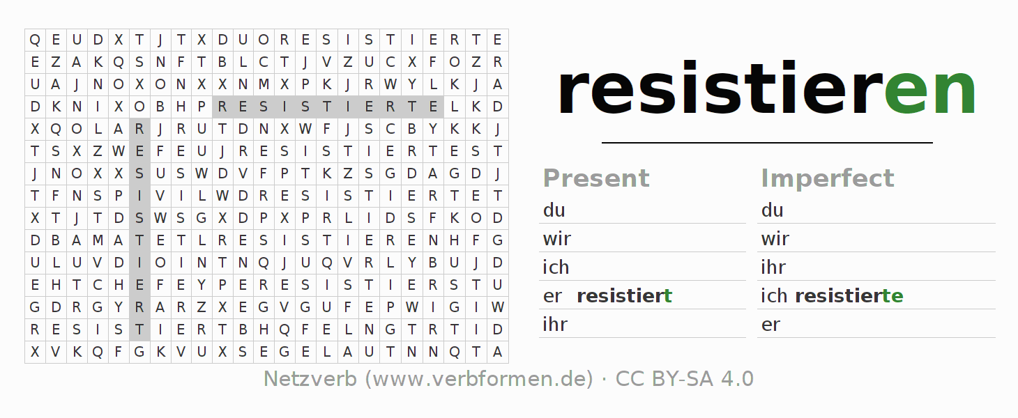 Word search puzzle for the conjugation of the verb resistieren