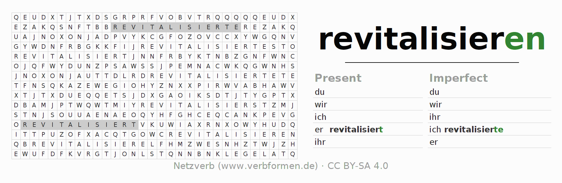 Word search puzzle for the conjugation of the verb revitalisieren