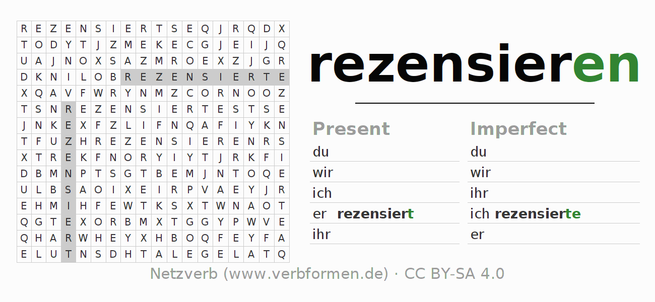 Word search puzzle for the conjugation of the verb rezensieren