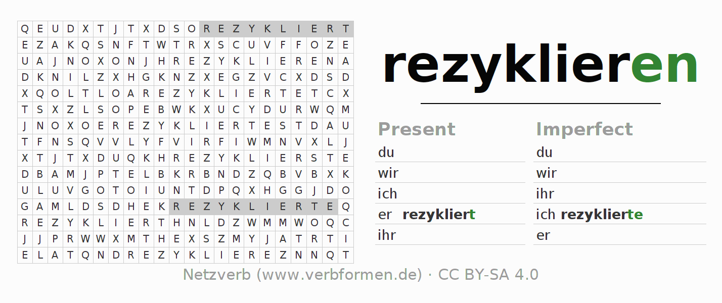 Word search puzzle for the conjugation of the verb rezyklieren (hat)