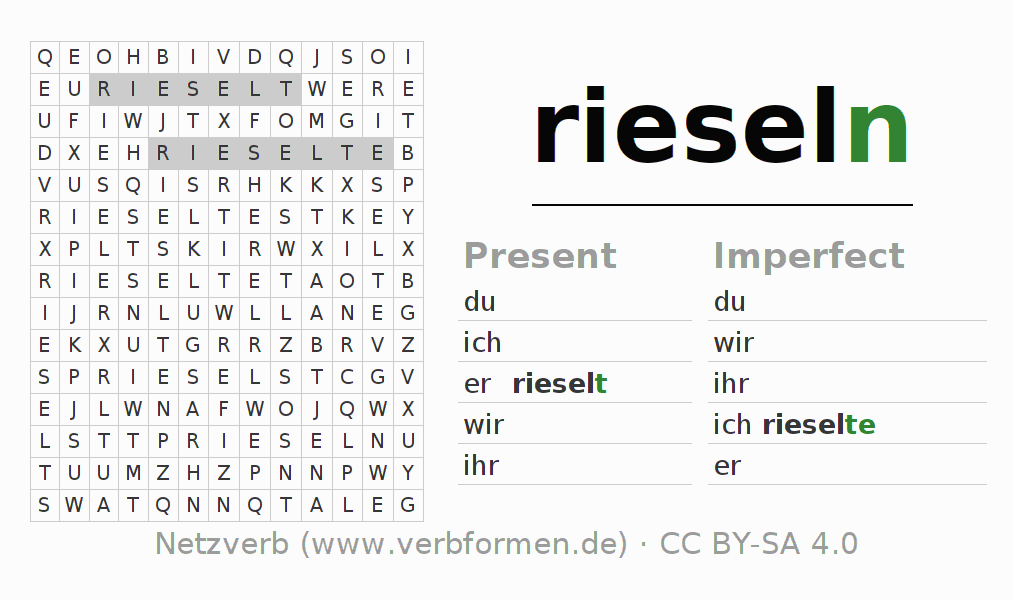 Word search puzzle for the conjugation of the verb rieseln (hat)