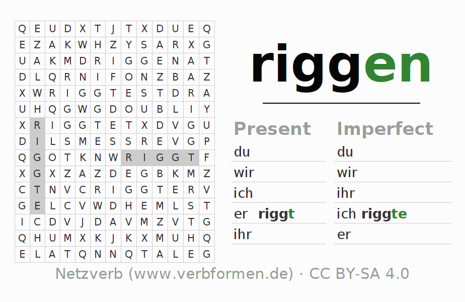 Word search puzzle for the conjugation of the verb riggen