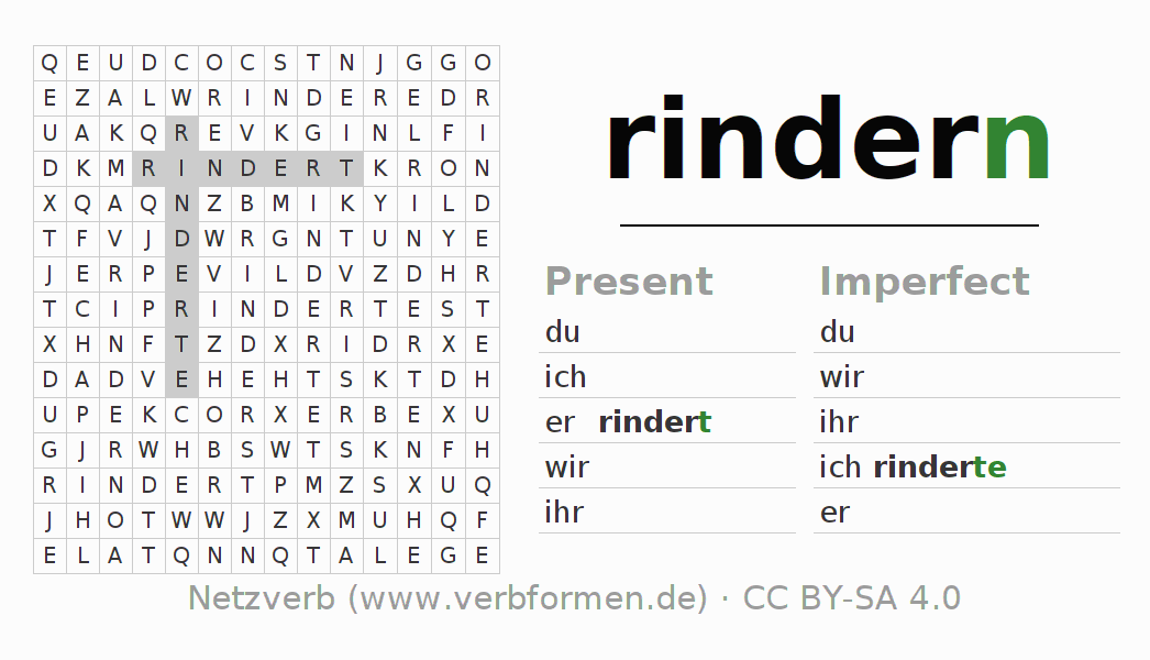 Word search puzzle for the conjugation of the verb rindern
