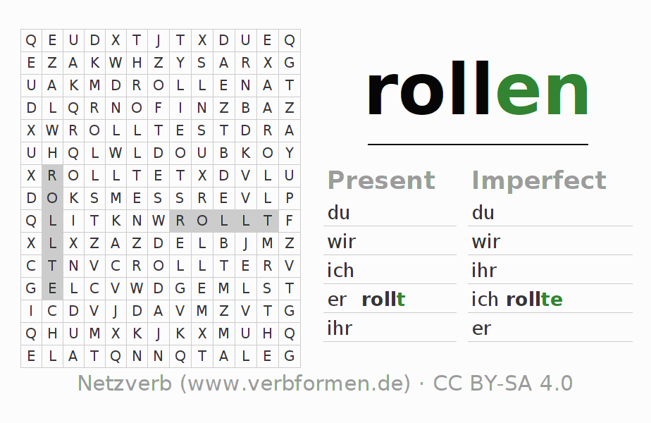 Word search puzzle for the conjugation of the verb rollen (ist)