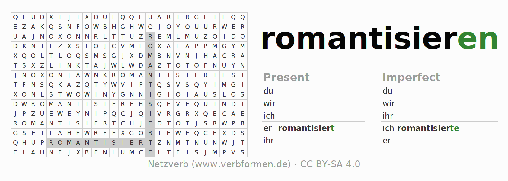 Word search puzzle for the conjugation of the verb romantisieren