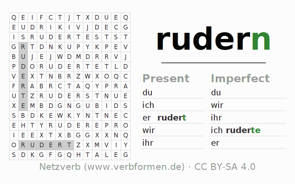 Word search puzzle for the conjugation of the verb rudern (ist)