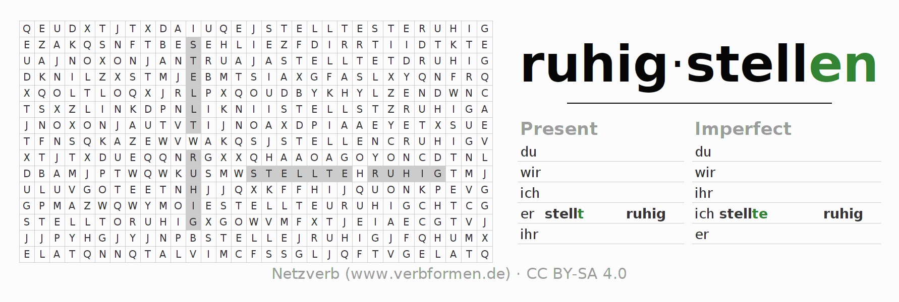 Word search puzzle for the conjugation of the verb ruhigstellen