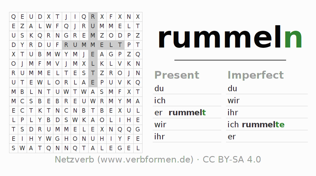 Word search puzzle for the conjugation of the verb rummeln