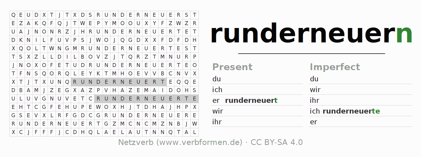 Word search puzzle for the conjugation of the verb runderneuern