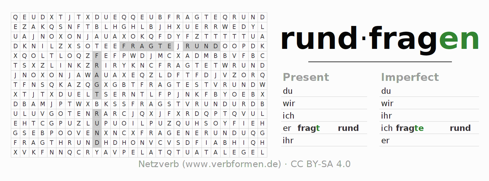 Word search puzzle for the conjugation of the verb rundfragen