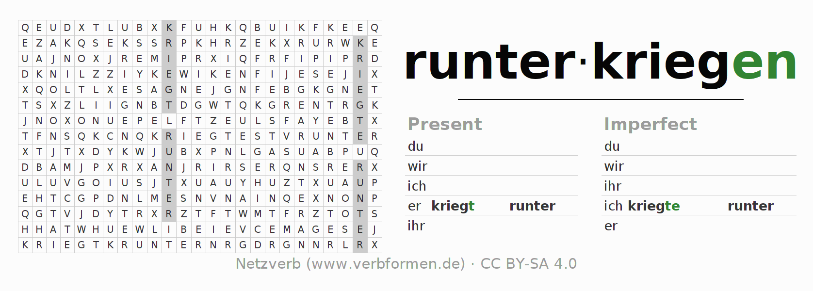 Word search puzzle for the conjugation of the verb runterkriegen