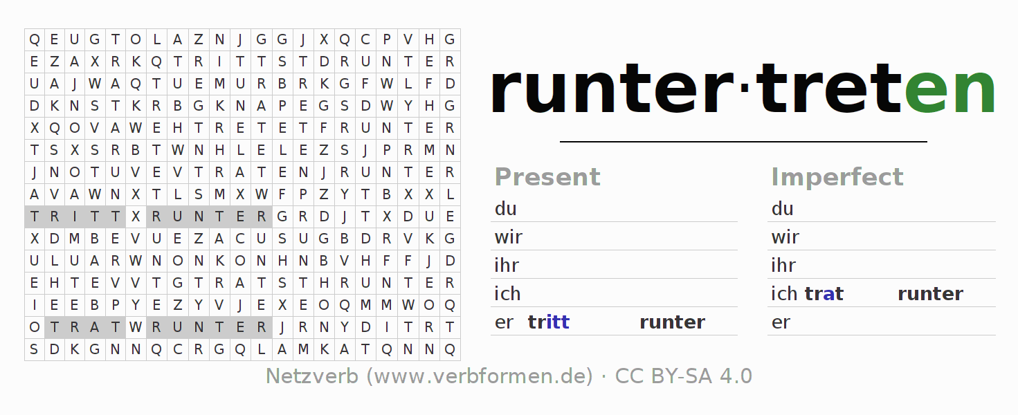 Word search puzzle for the conjugation of the verb runtertreten (hat)