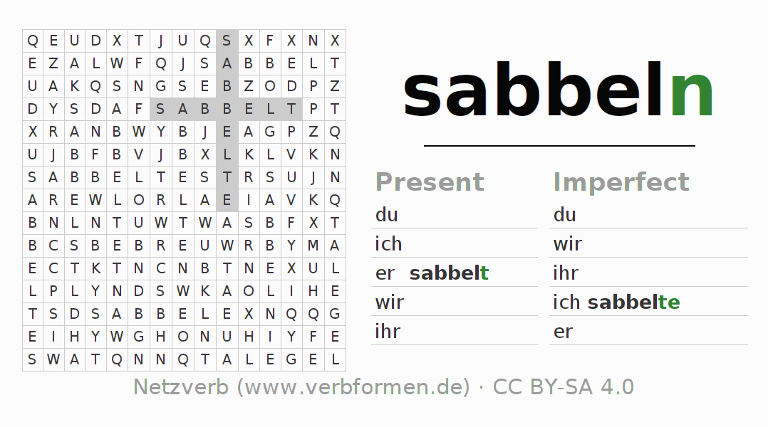 Word search puzzle for the conjugation of the verb sabbeln